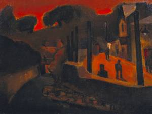 Evening, Ystradgynlais 1948 by Josef Herman 1911-2000